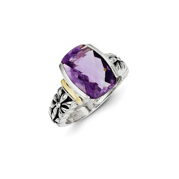Antique Style Sterling Silver with 14k Gold 6.66 Amethyst Ring
