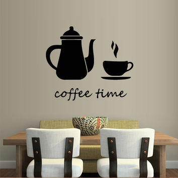 Wall decal decor decals art coffee time cup pot kitchen food cafe design mural bedroom (m1000)