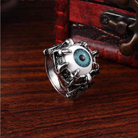 Men's Punk Vintage Dragon Claw Blue Evil Eye Skull Stainless Steel Biker Ring