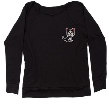 Embroidered Red Cat Patch (Pocket Print) Slouchy Off Shoulder Oversized Sweatshirt