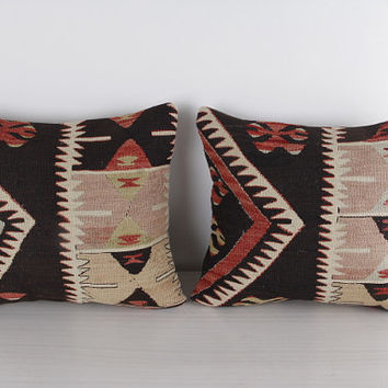 DOUBLE SET - 14x15 Handmade Vintage Kilim Pillow Bohemian Decorative Pillow for Sofa Couch Euro Sham Shabby Chic Boho Home Decor Housewares