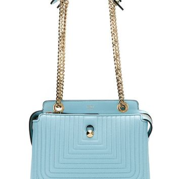 Fendi Dotcom Click Blue Turquoise Small Quilted Lambskin Leather Chain Satchel Bag Gold Hardware 8BN299