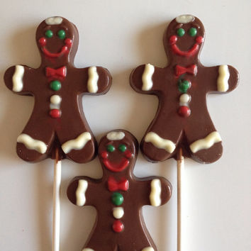 24 Mix of Gingerbread Man Christmas Chocolate Lollipops Party Favors Made to Order