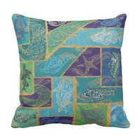 Hawaii Tribal Fish Tapa Outdoor Pillow