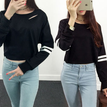 Womens Casual Hole Sweater Midriff-baring Top Gift-46