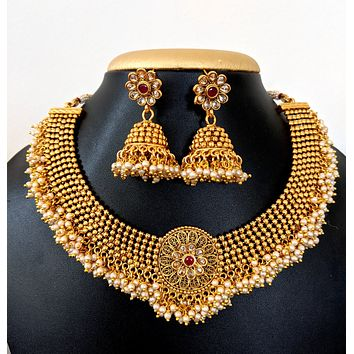 Traditional gold plated pearl cluster bead surrounding choker necklace and Jhumka earring set
