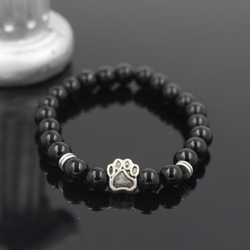 Mala Bead Yoga Bracelet With Paw Print