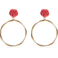 Pink rose hoop drop earrings - earrings - jewelry - women