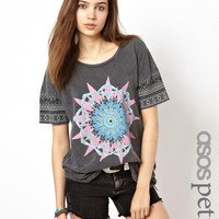 ASOS PETITE T-Shirt With Acid Wash and Aztec Florals