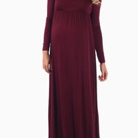Burgundy Long Sleeve Maternity Maxi Dress