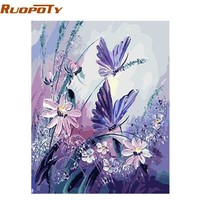 RUOPOTY Frame Butterfly DIY Painting By Numbers Wall Art Picture Canvas Wedding Decoration Handpainted Oil Painting Artwork