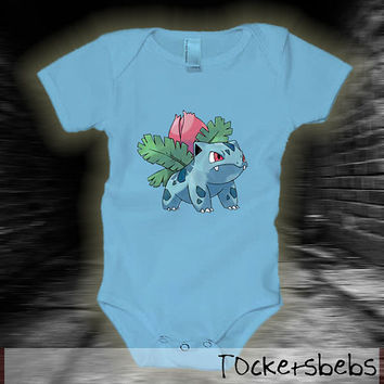 Ivysaur pokemon baby bodysuit for your babies new born, 6 month and 12 month years old