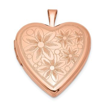925 Sterling Silver Rose Gold-plated 20mm with Daisies Heart Locket