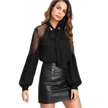Elegant Black Long Sleeve Blouse Lace Shoulder