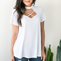 Leaving Cali Cut Out White Top
