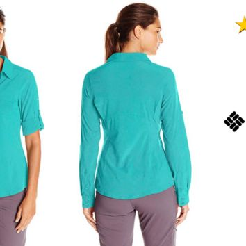 NEW! Columbia Women's Saturday Trail III Long Sleeve Shirt, MEDIUM Color: Miami
