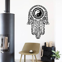 Wall Decals Fatima Hand Hamsa Indian Buddha Om Sign Floral Design Yoga Gym Home Vinyl Decal Sticker Kids Nursery Baby Room Decor kk397