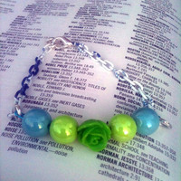 Green Flower Bead Bracelet On Blue and White Chain by By5Jewelry