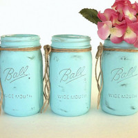 THREE Quart Painted Mason Jars, Distressed Aqua Blue Beachy vase jars set wide mouth, vase, bridal baby shower wedding shabby or beach decor