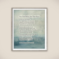 The Tide Rises, The Tide Falls. Poetry print by Henry Wadsworth Longfellow.