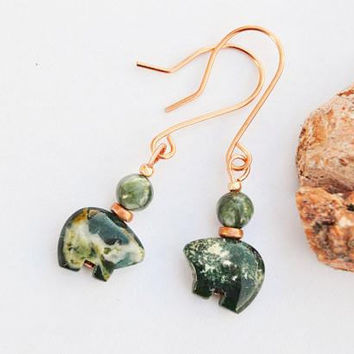 Spirit bear stone earrings, green moss agate and copper jewelry, native american, boho gift ideas, st patricks day party, handmade gifts