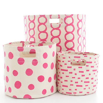 Canvas Fuchsia Storage Bins