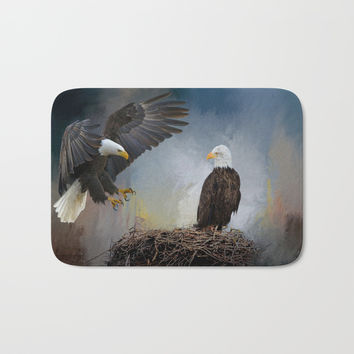 Eagles Nest Bath Mat by Theresa Campbell D'August Art