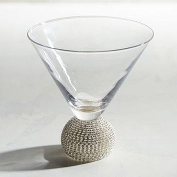Jewel Silver Stemless Martini Glass