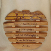 Wood burned Table Grace on Pine Trivet and colored with Prisma Color pencils