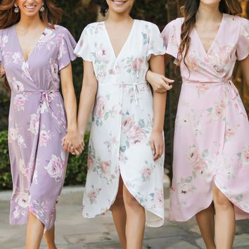 Kenley Floral Wrap Midi Dress