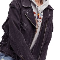Free People Oversize Denim Moto Jacket | Nordstrom