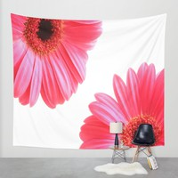 Red Gerbera Flowers Wall Tapestry by Inspired Images