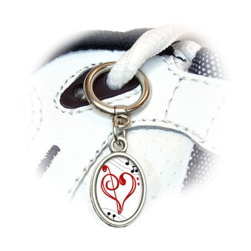 Music Heart - Love Treble Bass Clef Notes Staff Shoe Charm