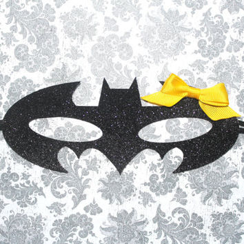 Adorable Batman Batgirl Glitter Mask Headband for Baby Girl 0-12 Months Old, Child, or Adult Baby Halloween
