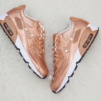 4a4b03930034 Nike Air Max 90 SE Leather Shoes Made with SWAROVSKI® Crystals - White  Metallic