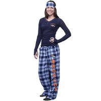 Denver Broncos Ladies Crossroad Burnout Pajama Sleep Set With Mask - Navy Blue