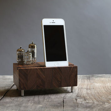 Universal dock for iPhone Samsung Galaxy stand handcrafted butcher block from walnut wood with triple electron tubes
