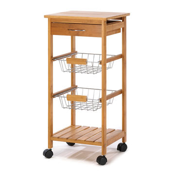 Small Kitchen Cart, Wooden Portable Utility Osaka Kitchen Cart With Drawers