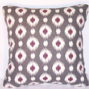 "Grey and Purple Ikat Dots Throw Pillow 17"" Square Linen Blend Ready to Ship Insert Included"