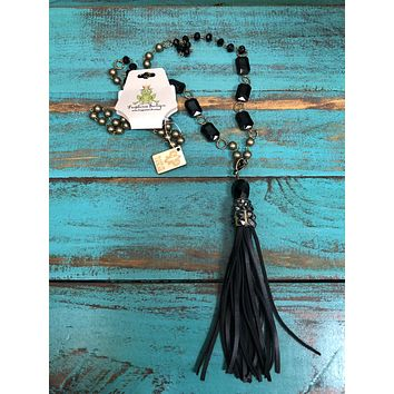 1N233BBL Bronze and black crystal beads with black tassel necklace