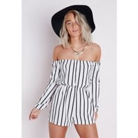 Missguided - Striped Bardot Playsuit White