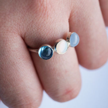 Into the Sea - Triple Gemstone Sterling Silver Ring ~ blue topaz, moonstone, chalcedony, wedding, bridesmaids, gift, modern, stacking