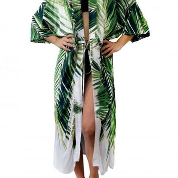 Green Palm Beach Cotton Robe