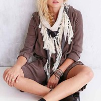 Tassel-Border Triangle Scarf- Black & White One
