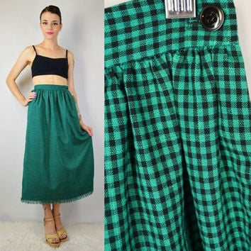 90s Gingham Skirt Teal Black Soft Grunge Gypsy Witch SMALL Vintage Womens Clothing Long Checkered