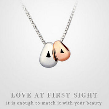 Womens Sterling Silver Cute Love Bean Pendant Necklace Gift-90