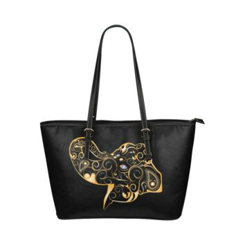 Women Shoulder Bag Wonderful GoldBlack Elephant Leather Tote Bag