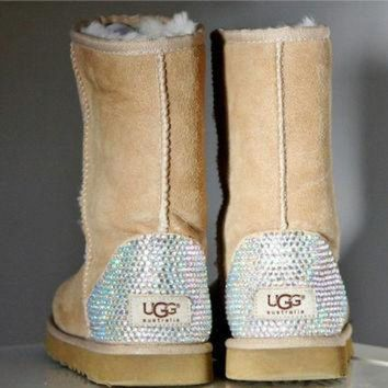 ICIK8X2 Toddler, Little Kid, and Youth UGG Sheepskin Boots with Swarovski Crystal Embellishmen