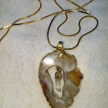 Sliced Geode Stone with Hanging Crystal Gold Tone Necklace