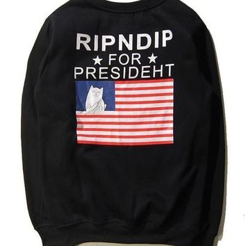 New Men Women Ripndip Hoodie Sweatshirt Us Flag Print Hoodies Sweatshirts Hip Hop Sportwear Tracksuit Sweat